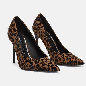 Zara leopard print suede Stiletto shoe size 6.5